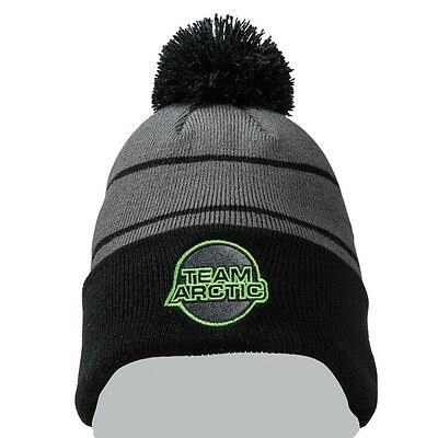Arctic Cat Team Arctic w/ Pom Knit 100% Acrylic Beanie - Black Gray - 5273-079