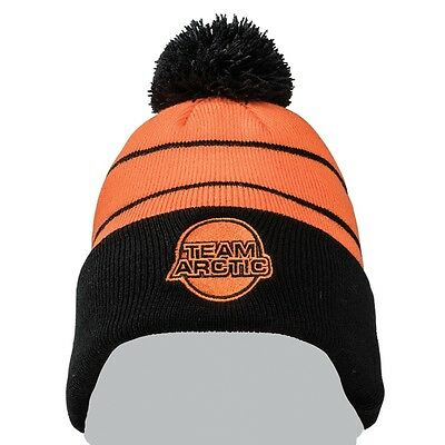 Arctic Cat Team Arctic w/ Pom Knit 100% Acrylic Beanie - Black Orange - 5273-078