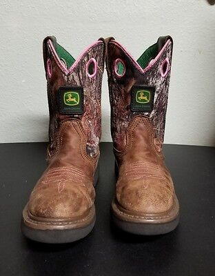 John Deere Western Boots Girls Kids Cowboy Child Camo Pink Size 2 * USED*