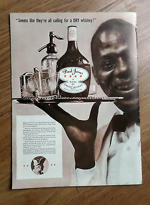1937 Paul Jones Whiskey Ad  Black Americana Waitor