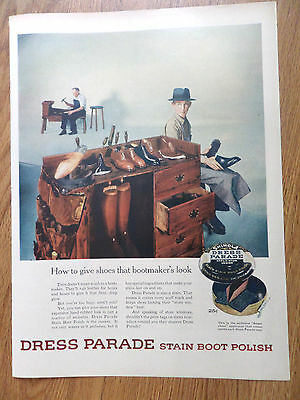 1954 Shinola Dress Parade Stain Boot Polish Ad Give Shoes Bootmaker's Look