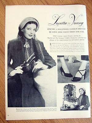 1948 Ad Red Cross Shoes Movie Hollywood Star Loretta Young