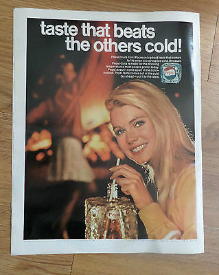 1968 Pepsi Cola Soda Bottle Ad Taste that beats the others Cold