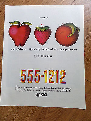 1967 AT & T Telephone Bell System Ad Apple Arkansas Strawberry SC Orange Vermont