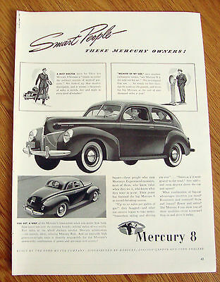 1940 Mercury 8 Ad  Coupe & Sedan  Smart People - These Mercury Owners!