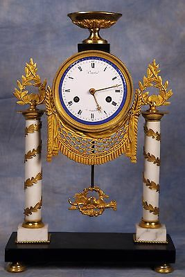 French Empire Dore Ormolu Gilded Bronze Marble Clock 18th Century by Courtin