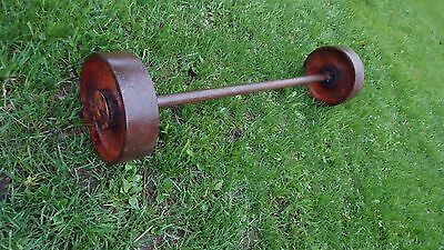"""Antique Cast Iron industrial wheels with axle 8"""" wheels x 32"""" long STEAMPUNK"""