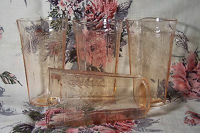 "4 vtg hocking pink depression glass princess 5 1/4"" flat iced tea water tumblers"