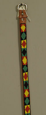 African Beaded Masai Leather Belt Red Yellow Beads Masai Leather Belt