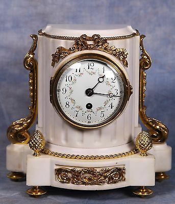 French Dore Ormolu Gilded Bronze Carved White Marble Clock