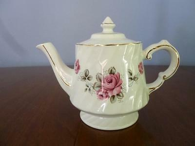 Wood & Sons Rose Teapot Burslem England Vintage Gold trim near mint Pink roses