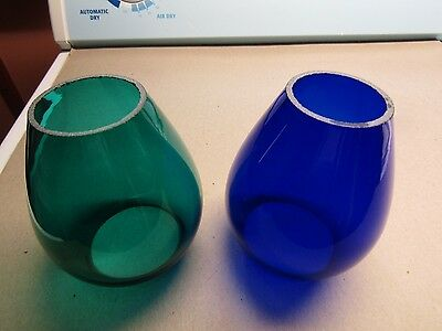 "2 - 5 3/8"" Glass Lantern Globes Blue & Green (new)"