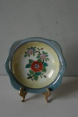 VTG Made In Japan Lusterware Irridescent Hand Painted Floral Decorative Bowl