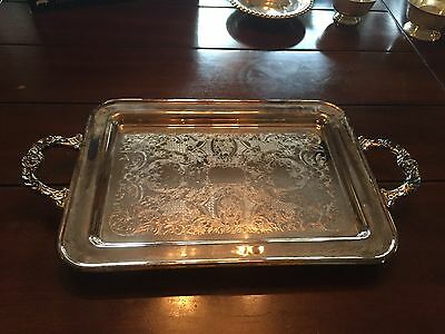 Vintage Kent Silversmiths NC Silver Plate Serving Tray Platter w/ Handles 17""