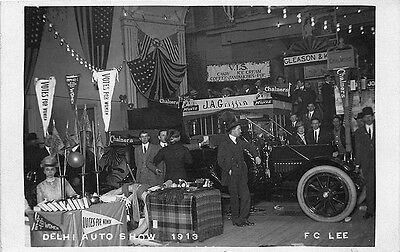 Delhi NY 1913 Auto Show Suffragette Booth Chalmers Autos Moxie Signs Postcard