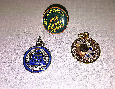 3 Vintage Michigan Bell Telephone Co Employee Award Charms Pin Telecom Pioneers
