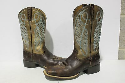 NBJ-792 Ariat Round Up Square Toe Cowboy Boots Yukon Brown/Bronze SZ 8B