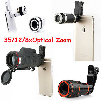 Clip-on 35/12/8xOptical Zoom HD Telescope Camera Lens For Universal Mobile Phone