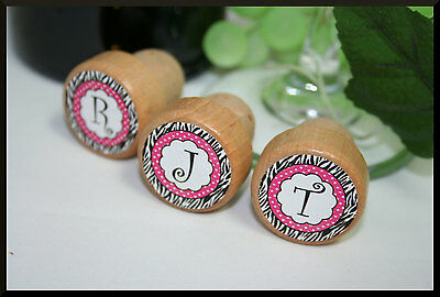 Monogram Wine Stoppers, Pink Zebra Wine Stoppers, Personalized Stopper, Gift
