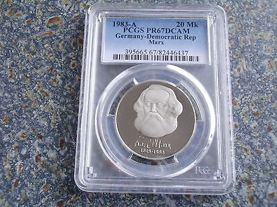 Germany GDR proof 20 Mark 1983 Karl Marx Communist PCGS PR67DCAM commemorative