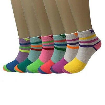Fashion 6-12 Pairs Womens Cotton Multi Color Ankle Low Cut Socks Size 9-11 New