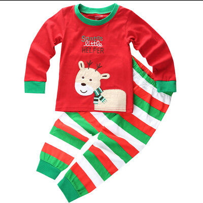 USA Christmas Family Matching Deer Pajamas Adult Women Kids Baby Sleepwear Set