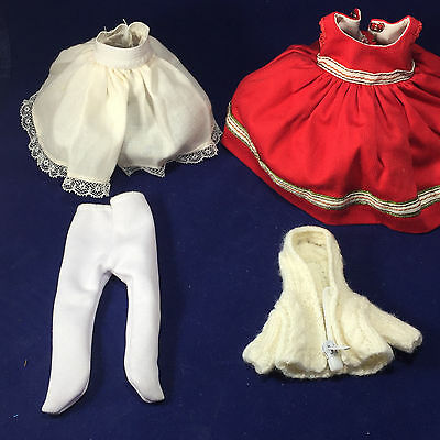 "Madame Alexander Accessories Red DRESS petticoat sweater pantyhose for 8"" doll"