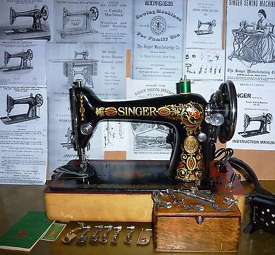 Gorgeous Singer 66-6 Red Eye antique sewing machine,case,motor,attachments,1923