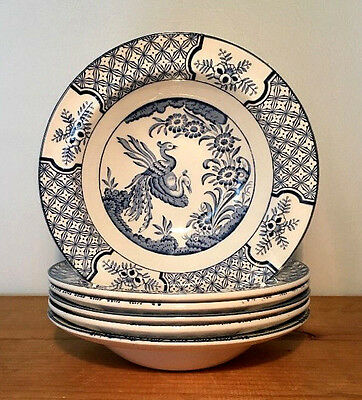 "Wood & Sons England YUAN china/6 cereal Coupe bowls 6.5""/ Blue White/birds"