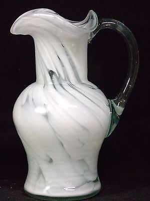 """Hand Blown Art Glass Pitcher, Clear And White, 7.25"""" Tall, EX. Cond."""