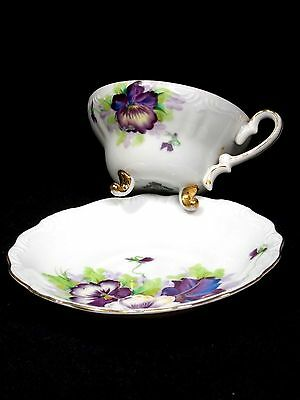 Vintage S.A.J.I. Hand painted Fancy China Cup and Saucer made in Japan, Mint.