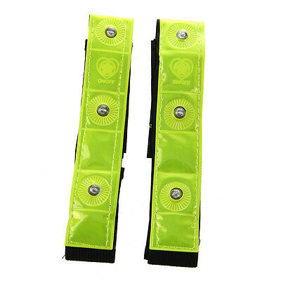2 x Reflective Band Arm Leg Strap Belt 4 LED Light Cycling Running C5T5