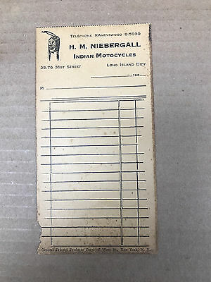 Vintage Original 1930's Purchase Receipt H.m. Niebergall Indian Motorcycles