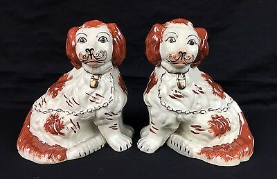 """Pair Of Staffordshire Art Pottery Spaniel Mantel Dogs 8"""" Russet Separated Legs"""