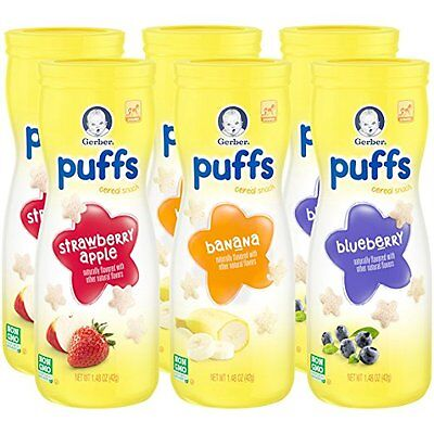 6 US Gerber Graduate Baby Toddler Puffs Cereal Snack Strawberry blueberry banana