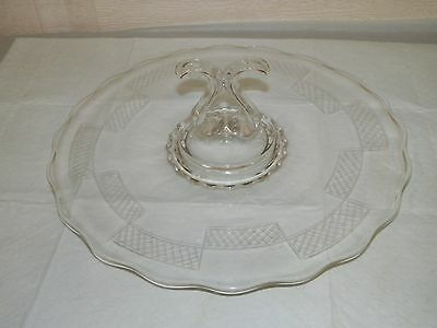VINTAGE Depression Glass Serving Plate, Cake Tray W/ Center Handle