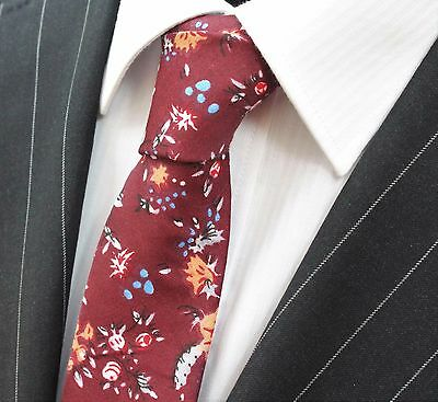 Tie Neck tie Slim Damson with Multi Floral Quality Cotton T6066