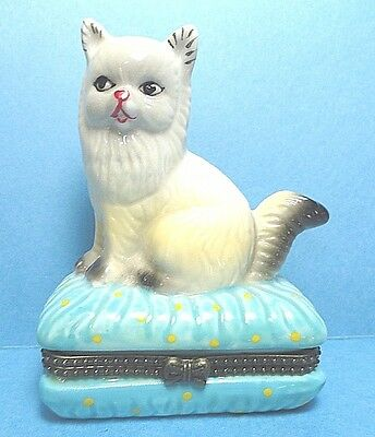 Porcelain Cat On A Pillow Hinged Trinket Box