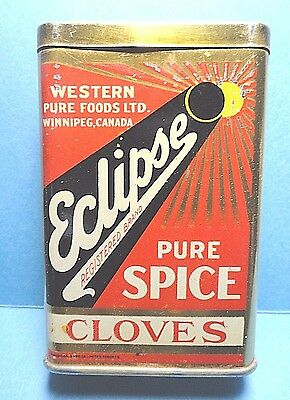 "Vintage ""Eclipse"" Brand Cloves Spice Tin  FREE SHIPPING"