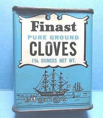 "Vintage ""FINEST"" Brand Cloves Spice Tin   FREE SHIPPING"