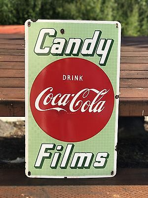 Coca Cola Candy Films 50's Button Porcelain Sign Original Vintage RARE