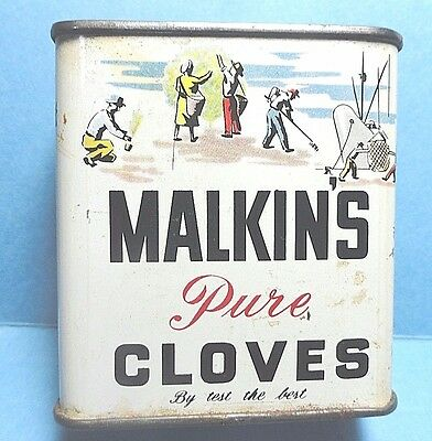 "Vintage ""Malkin"" Brand Cloves Spice Tin #2  FREE SHIPPING"