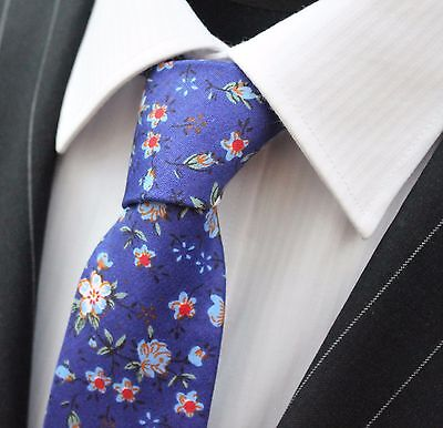 Tie Neck tie Slim Midnight Blue with Bright Floral Quality Cotton T6050