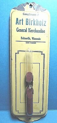 Vintage Metal Advertising Boltonville, Wisconsin Kitchen Wall Sand Egg Timer