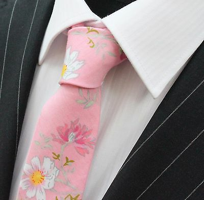 Tie Neck tie Slim Candy Floss Pink with Large Flower Quality Cotton T6062