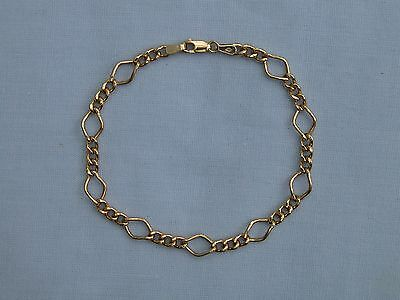 "UNUSUAL DIAMOND SHAPED FIGARO 9CT YELLOW GOLD BRACELET - 7.25""/18.4cm - 2.5g"