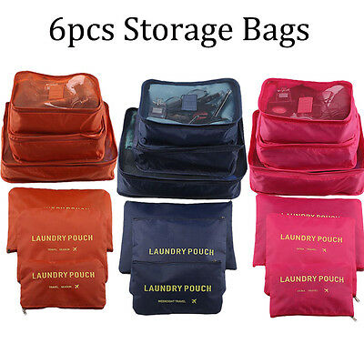 6Pcs Clothes Underwear Socks Packing Cube Travel Storage Bag Luggage Organizer