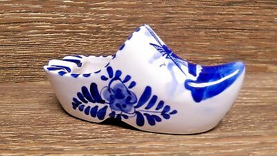 Vintage Delft Blue Holland Clog Ashtray - Dutch Hand Painted Windmill - Mint