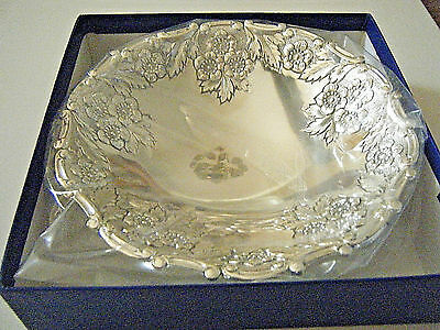 Vintage Japanese Silver Tone Candy-Key Bowl - Flower & Leaf - New In Plastic