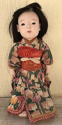 Antique Taisho Era Early 1900s Japanese Ichimatsu Girl Doll Gofun Human Hair
